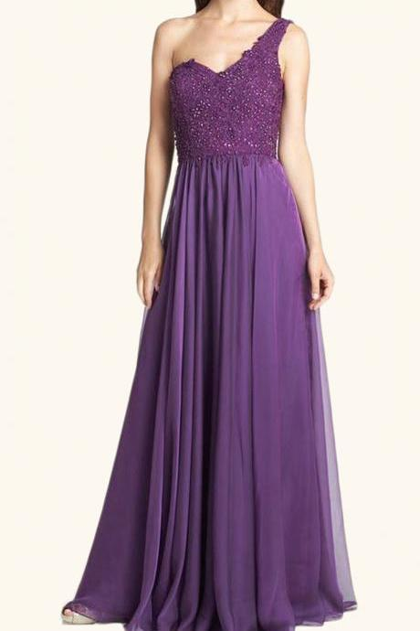 MACloth One Shoulder Lace Chiffon Long Prom Dress Purple Formal Evening Gown